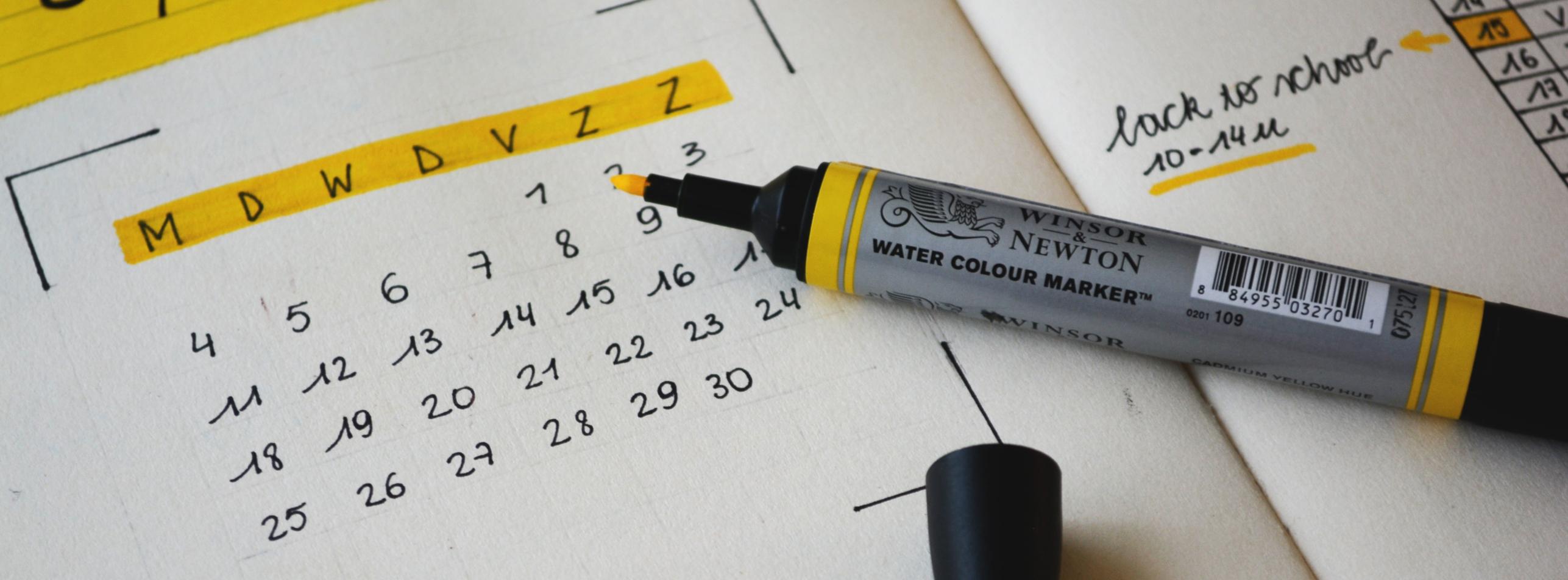 A calendar for scheduling EPA activities